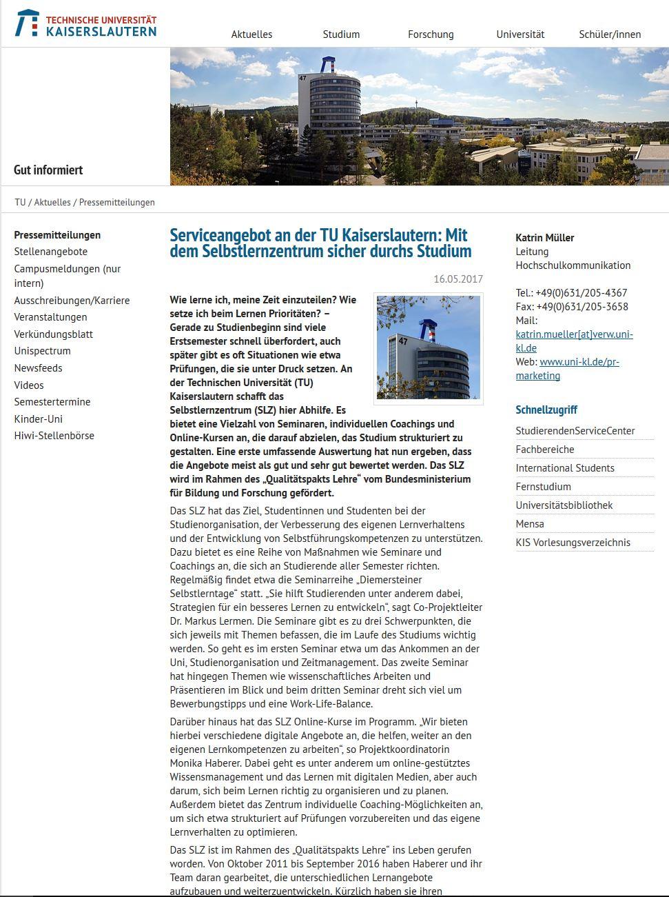 Screenshot der Pressemitteilung Serviceangebot an der TU Kaiserslautern: Mit dem Selbstlernzentrum sicher durchs Studium