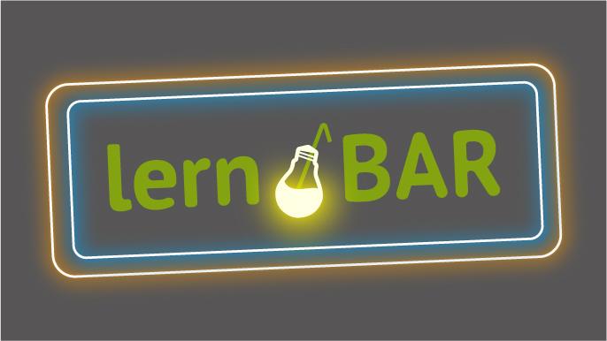 Logo der lern•BAR im Barschild-Design